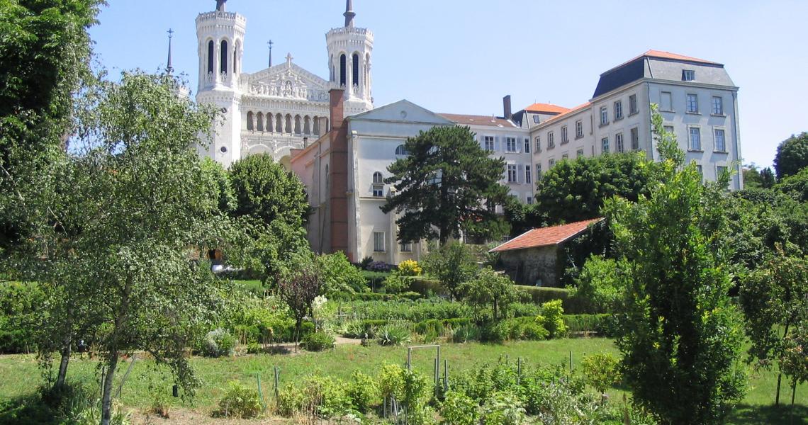 Des jardins à Fourvière, la basilique au fond