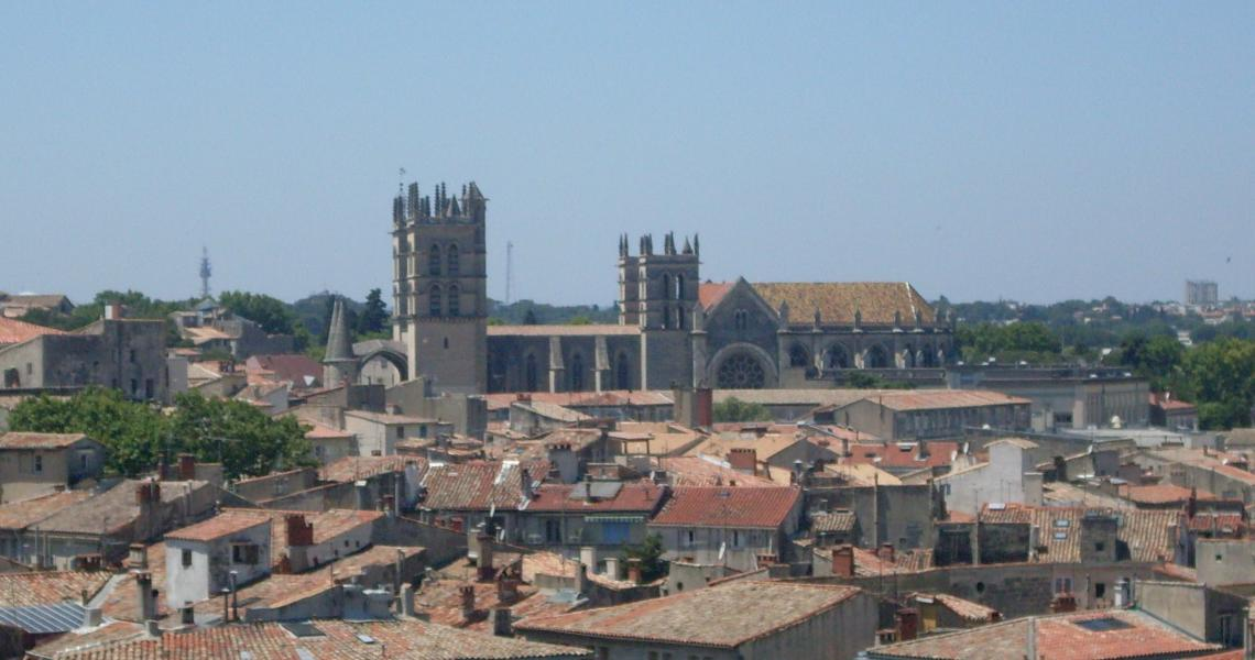 Cathédrale saint-pierre de montpellier vue du corum